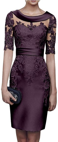 Charm Bridal Satin Appliqued Tight Mother of Bride Women Party Dress with Sleeve… Charm Braut Satin appliziert enge Mutter der Braut Ca. Mother Of Bride Outfits, Mother Of Groom Dresses, Mothers Dresses, Elegant Dresses, Pretty Dresses, Beautiful Dresses, Formal Dresses, Formal Wear, Party Dresses With Sleeves