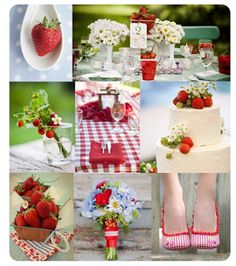 strawberry gingham wedding | Some real neat ideas here, especially using strawberries and small daisies (as strawberry blooms) on the cake