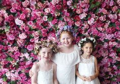 We love this pic! Super cute flower girls in front of our ultra luxe Aninia Flower Wall - peonies, roses and hydrangea in all shades of pink. A gorgeous floral backdrop! Flower Girls, Flower Girl Dresses, Floral Backdrop, Love Pictures, Flower Wall, Hydrangea, Peonies, Backdrops, Roses