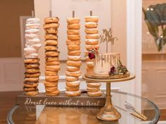 Check out our donut stand selection for the very best in unique or custom, handmade pieces from our party décor shops. Doughnut Stand, Donut Bar, Donut Stands, Party Centerpieces, Birthday Party Decorations, Table Decorations, Birthday Ideas, Wedding Decorations, Birthday Parties