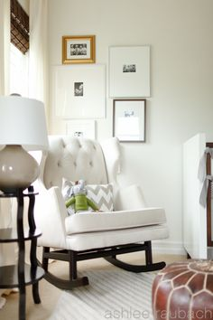 IN LOVE with that rocking chair! caitlin wilson design: style files: Zabeel Chevron in Ford's Nursery! Nursery Rocker, Rocking Chair Nursery, Rocking Chairs, Caitlin Wilson Design, Nursery Neutral, White Nursery, Nursery Inspiration, Apartment Design, Hygge