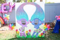 "Twin's Satin & Chenelle Troll Photo Booth from a ""Troll-tastic"" Trolls Birthday Party on Kara's Party Ideas | KarasPartyIdeas.com (32)"