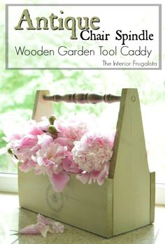 Wooden Tool Caddy with Antique Chair Spindle Handle | The Interior Frugalista