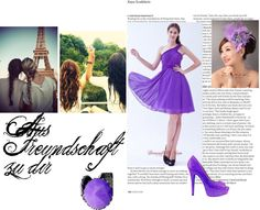 """Purple A-line One Shoulder Chiffon Ruch Prom Dress Knee-length Dama Dresses"" by weddingdressesforyou ❤ liked on Polyvore"