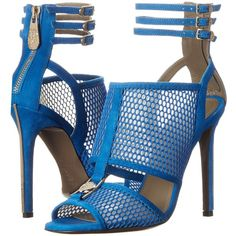 Versace Collection Perforated Strappy Sandal Women's Sandals, Blue ($290) ❤ liked on Polyvore featuring shoes, sandals, heels, blue, leather strappy sandals, versace shoes, open toe sandals, leather strap sandals and strappy sandals