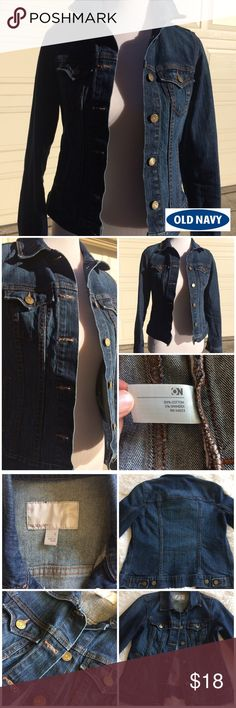 """[old navy] dark wash denim stretch jean jacket Stylish dark wash denim jean jacket made by Old Navy🔹Made of 99% cotton 1% spandex🔹Features 6 buttons in front and 2 pockets on chest🔹For reference, mannequin is 34""""27""""35""""🔹In excellent condition with no rips, stains or tears and comes from smoke free home! 💕Create a bundle for the best value💕 Old Navy Jackets & Coats Jean Jackets"""