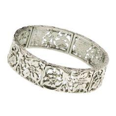 """Little Grecian Silver Lily Bracelet 1928 Jewelry. $22.00. Measures: 7"""" around x 3/4""""W"""