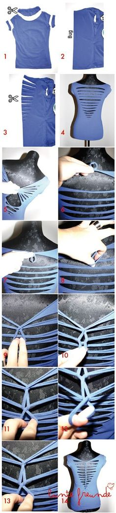 DIY T-shirt remake I totally have todo this!