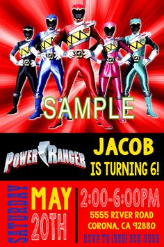 Power Rangers Birthday Invitation. Click on the image twice to place orders or follow me on facebook. or email me at the address in BIO.