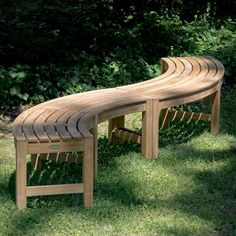 Buckingham Rounded Teak Backless Bench | Westminster Teak Curved Outdoor Benches, Curved Bench, Westminster Teak, Tree Bench, Teak Outdoor Furniture, Fire Pit Seating, Entry Bench, Teak Table, Modern Lounge