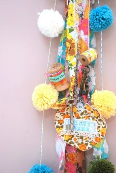 pom pom decs for party, strips of vintage fabric