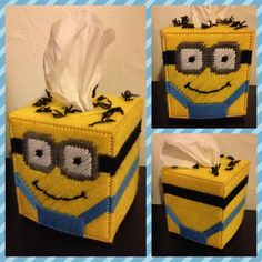 Disney Despicable Me Minion Tissue Box Handmade Plastic Canvas Stitches, Plastic Canvas Coasters, Plastic Canvas Tissue Boxes, Plastic Canvas Crafts, Plastic Canvas Patterns, Plastic Craft, Tissue Box Holder, Tissue Box Covers, Minion Craft