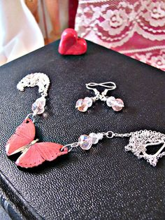Pink Butterfly Necklace with Swarovski beads FREE by RebeccasWhims, $14.95