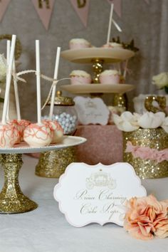 Gorgeous gold and pale pink themed Cinderella party