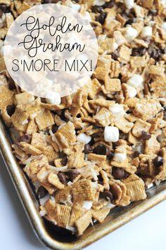 Golden Graham S'more Mix - - Golden Graham S'more Mix Dessert Anyone? Golden Graham S'more Mix Snack Mix Recipes, Yummy Snacks, Yummy Treats, Sweet Treats, Yummy Food, Snack Mixes, Tasty Recipes For Dessert, Trail Mix Recipes, Baby Recipes