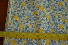 "By The Half Yard 44"" Yellow Blue on White Quality Cotton Clothworks M4445 