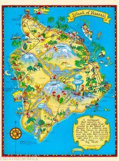 Hawaii-Hawaiian-Big-Isle-Map-United-States-America-Travel-Advertisement-Poster