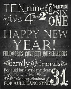 Free printable chalkboard New Years Subway print.