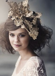 gold bridal headpiece, very vogue