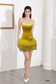 f63c5468e9c3 Giallo spaghetti strap abiti da cerimonia invitati corti sexy
