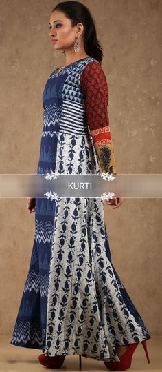 Printed cotton kurti. Great placement with detailing