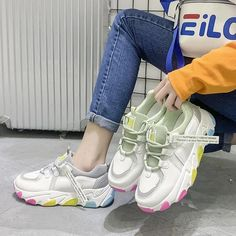 Women's Casual Shoes Flat Colorful Fashion Chunky Sneakers | Touchy Style White Sneakers For Girl, Jeans And Sneakers Outfit, Best White Sneakers, Chunky Sneakers, Girls Sneakers, Casual Sneakers, Casual Shoes, Women's Casual, Shoes Sneakers