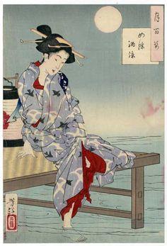 Tsukioka Yoshitoshi, Cooling off at Shijo, (100 Aspects of the Moon)