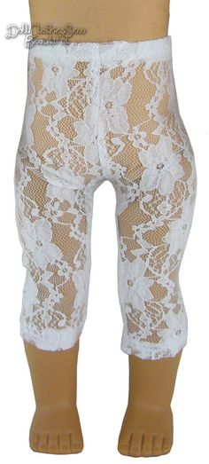 """White Stretch Lace Leggings Made for 18"""" American Girl Doll Clothes 