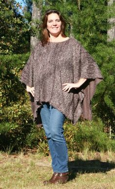 Cocoa Delight Boucle Poncho with Pockets - Eastwood Make My Day Style | DonnasDesignsSC - Clothing on ArtFire