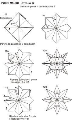 Origami Mauro Diagrammi Miei Modelli Stelle Box Origami, Origami Envelope, Origami Ball, Origami Fish, Origami Bookmark, Modular Origami, Origami Stars, Origami Flowers, Origami Ideas