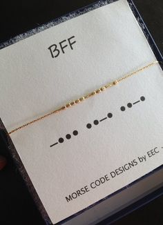 BFF Morse Code Necklace in Sterling Silver or Gold Filled, Best Friends Jewelry, Kindred Spirits Necklace BFF Code Morse collier en argent Sterling par ErinElizabethCarson Best Friend Jewelry, Best Friend Gifts, Gifts For Friends, Sister Jewelry, Sagitarius Tattoo, Tattoo Planets, Code Morse, Morse Code Tattoo, Cute Tattoos
