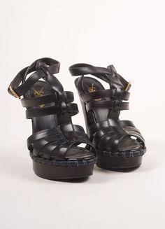 Black Leather Platform Sandal Heels