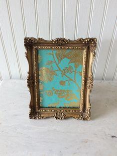 vintage gold metal frame set 4 by 5 and 5 by 7 easel backs embossed designs