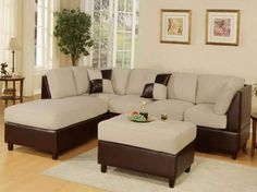 Sectional Sofa Set with Ottoman in Mushroom Finish - FEATURED Sectional Sofa Set with Ottoman in Mushroom Finish Some assembly may be required. Please see product details. Sectional Sofa Set with Ottoman in Mushroom Finish Y