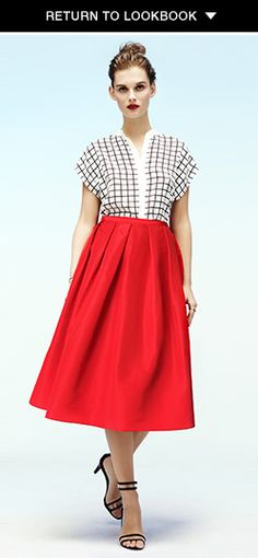 Tibi full silk skirt & windowpane top