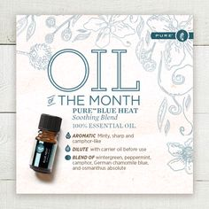 PURE™ Essential Oil Blends take the guesswork out of mixing oils and give you're the ideal balance of properties and fragrances. Blue Heat delivers a warming, invigorating, sensation that's great for massaging into sore, tired muscles. Discover this unique blend for yourself with this exclusive limited-time discount access code. Melaleuca.com/oilofthemonth