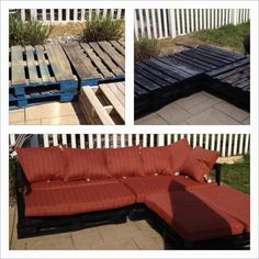 """Another DIY patio sectional from pallets example. So clever, """"green"""" and frugal."""