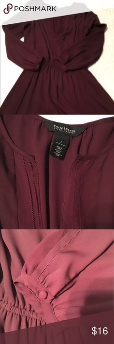White House Black Market Maroon dress. Flattering. Excellent condition. Maroon. Button detail on sleeves. 3/4 sleeves. Very flattering. White House Black Market Dresses