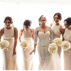 Bridesmaids in white; bridesmaids; #bridalparty lPhoto by @gmphotographics Dresses by @rachelgilbertau #bridesmaids #bride #wedding #thecoordinatedbride #coordinatedbridesmaids