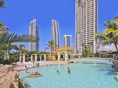 Surfers Paradise apartment rental - Salt water lagoon pool