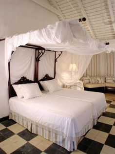Canopy double bed. Combined for one bed or can be split into two. & Canopy Bed Fuchsia Interior Design Wimco Villa #vacation ...