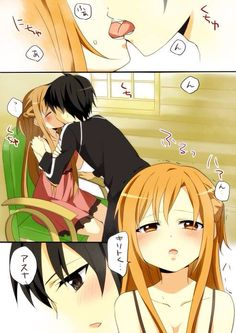 Asuna and Kirito having a hot make-out session ;)