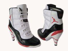5b598c15b434bf jordan retro 11 High Heels shoes White Black