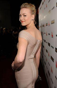Yvonne Strahovski curves in a body con dress
