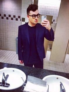 He takes better bathroom selfies than almost anybody. | 27 Reasons Sam Smith Is The Angelic Voice The World Needs Right Now