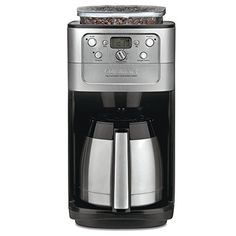 Cuisinart DGB-900BC Grind & Brew Thermal 12-Cup Automatic Coffeemaker - Easily brew up to 12 cups of great-tasting coffee with this 24-hour fully programmable coffeemaker. The unit comes equipped with a built-in burr grinder, which automatically grinds beans right before brewing, and its grind-control function makes it easy to program the amount of coffee to grind--f...