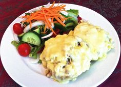 Chef's Speciality Dish of the Week: Hot Spud #4 - A generous hot Farm Potato topped with Chicken Mayonnaise, Bacon and Mozzarella Cheese served with a fresh Green Salad on side - R49.00 on until this Saturday the 8th of December @ Stonehaven on Vaal - www.stonehaven.co.za Fresh Green, Mayonnaise, Mozzarella, Bacon, December, Potatoes, Salad, Cheese, Dishes