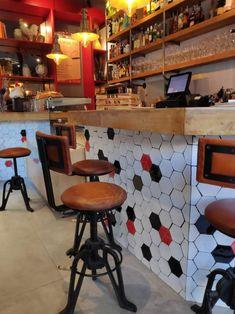 Custom hexagon tile   LeCoq Restaurant Madrid (Spain) Hexagon Tiles, Bespoke, Madrid, Spain, Restaurant, Table, Furniture, Home Decor, Tiles
