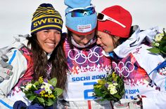 Marit Bjoergen of Norway takes 1st place, Charlotte Kalla of Sweden takes 2nd place, Heidi Weng of Norway takes 3rd place during the Cross-Country Women's Skiathlon at the Laura Cross-country Ski & Biathlon Center on February 08, 2014 in Sochi, Russia. (Photo by Vianney ...