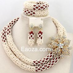 Cream and Red 2 layers luxurious African Nigerian Beads set | African Nigerian Wedding Beads Jewellery Sets and Wedding Dresses